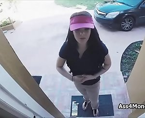 Pizza delivery girl fucks for cash on flick