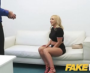 Fake Agent Timid British blonde Amber Deen deep throats big cock on casting couch