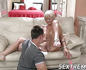 Horny granny likes riding and sucking big young dick